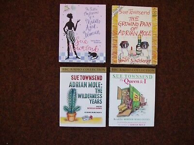 Sue Townsend Audio Books X 4 8 Tapes 2 Adrian Mole Queen & I Middle Aged Woman