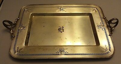 "Antique Meriden SP Co Silverplate Pierced Tray 10.5""x14.5"" Monogram B #372"