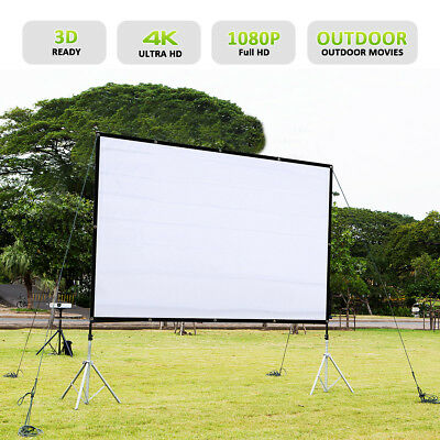 16:9 84'' Collapsible White Portable Projector Cloth-Screen with Hanging Hole FR