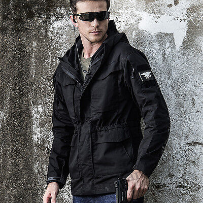 New Mens Trench Coat Military M65 Tactical Casual Long Outdoor Hooded Jacket