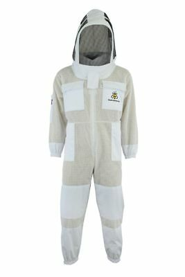 White Beekeeping 3 Layer beekeeping full suit ventilated Astronaut veil-Small-11