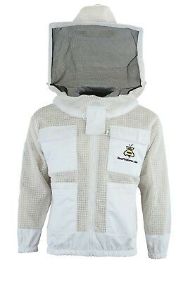 White Beekeeping 3 Layer Ultra Ventilated beekeeping jacket Round veil@XL-01