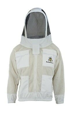 White 3 Layer beekeeping jacket hat ventilated protective fency veil @2XL