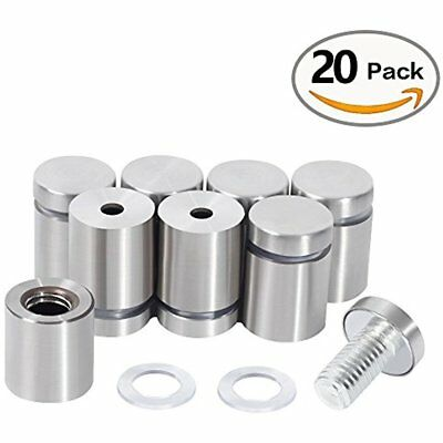 20 Pcs Stainless Steel Wall Mount Glass Standoff Holder Screw Nails Advertising