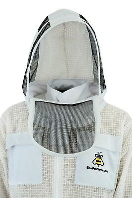 Professional 3 Layer beekeeping jacket hat ventilated fency veil hood@S-01