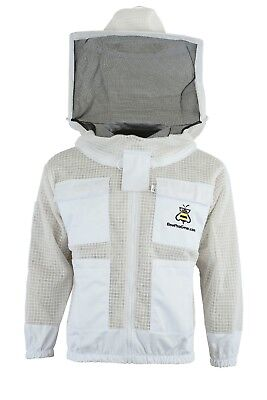 Professional 3 Layer Ultra Ventilated beekeeping jacket Round veil@S-01