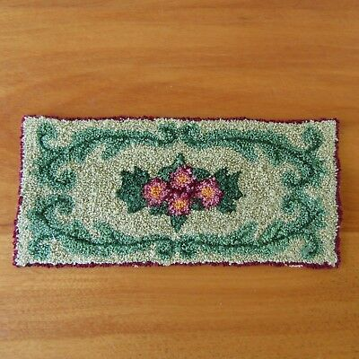 Dollhouse Miniature Hand-Crafted Punch Needlepoint Rug Green Pink Rose Floral