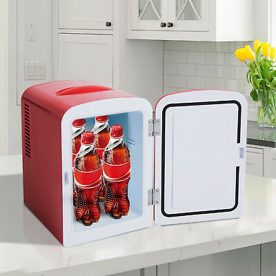 Portable Mini Fridge Table Top Electric Small Cooler Bedroom Car 4L Red Ice  Box