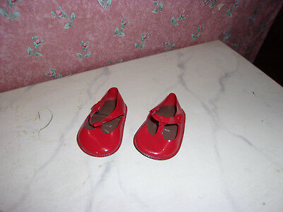 Alte Lack-Schuhe-Puppe Gr. ca 49-rot-Stolle