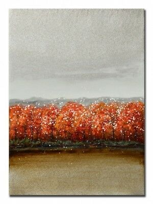 Abstranct  Vermillion world Hand Painting Stretched Canvas Ready to Hang Wall