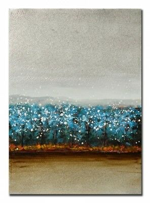 Abstranct blue world Hand Painting Stretched Canvas Ready to Hang Wall