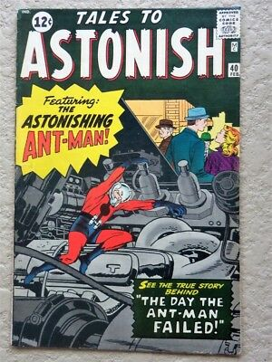 Tales To Astonish #40 Original Marvel Comic Book 1963 Very Fine- Ant Man