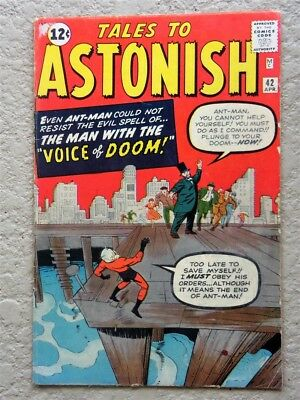 Tales To Astonish #42 Original Marvel Comic Book 1963 Fine- Ant Man