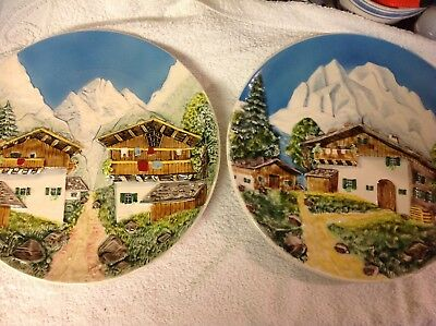 2 x Vintage West Germany ALPINE SCENE CHALET SNOW Relief Wall Plaque Plate 12 in