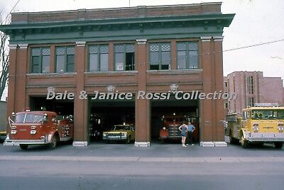 F002 35mm Slides Set of 2, 1976 Watertown NY FIre Station and Truck