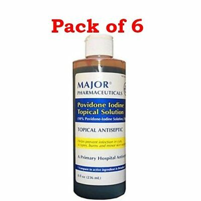 Major Povidone Iodine Topical Antiseptic Solution 10% 8 oz (Pack of 6)