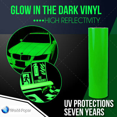 "Glow in the dark Reflective Vinyl Adhesive Cutter Sign 12""X1 FOOT"