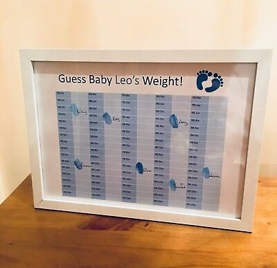 Baby Shower personalised Guess the Weight Baby Feet Boy/Girl A4 Print - Ink Pad