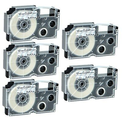 """5PK XR-12X Black on Clear Label Tape for Casio KL-60 100 7000 8200 8800 1/2"""""""