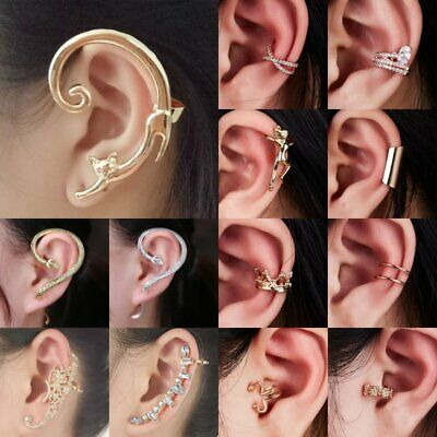 1PC Unisex Fashion Vintage Crystal Punk Rock Ear Clip Cuff Wrap Clip On Earrings