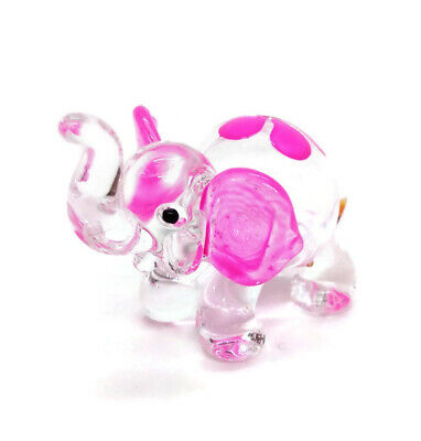 Elephant Blown Glass Hand Blowing Figurines Animals Decor Cute Flower Art Gifts
