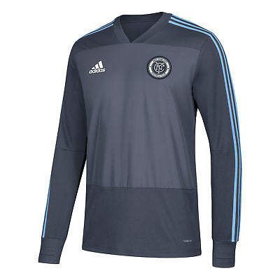 New York City FC Training Top Long Sleeve Shirt Sky Blue Mens Football adidas