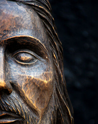 19th Century Hand Carved Jesus Christ Church Wooden Head Statue Rare Decorative