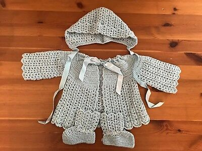 Baby Christening Outfit Hand Crocheted Vintage Blue Jacket Cap Booties