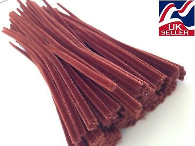 10-1000 LIGHT BROWN chenille craft stems pipe cleaners 30cm long,6mm wide