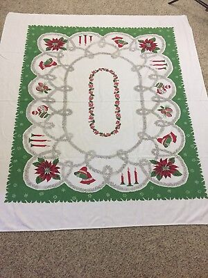 "VTG Christmas Tablecloth 57"" X 62"" Red Green Bells Ornaments Candles Tinsel"