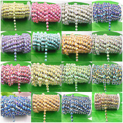SS30 10cm chain costume applique jelly resin crystal rhinestones 6mm