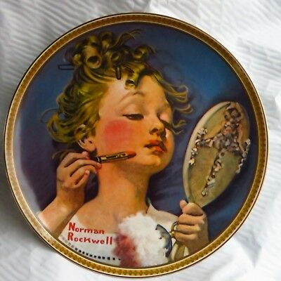 Norman Rockwell Dish 'making Believe In The Mirror' Bradex # 84-R70-4.4