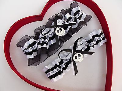 New White Black Nightmare Before Christmas Jack Skellington Wedding Garters