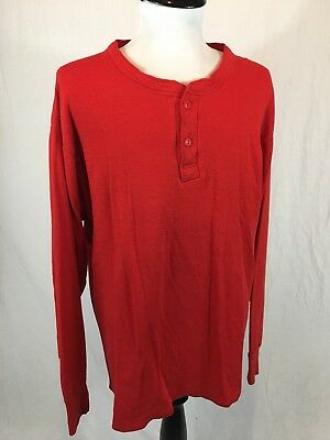 Vintage LL Bean River Driver's Henley Shirt 2-Ply Men's Large Red Made In USA