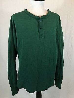 Vtg LL Bean River Driver's Henley Shirt 2-Ply Men's Large Tall Green Made In USA