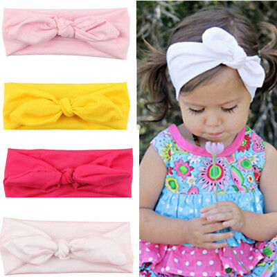 Baby Girls Love Kids Turban Knot Rabbit Headband Bow Hair Bands Head Wrap