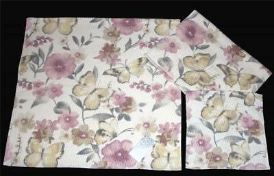 3 Artison BIG Flowers Butterflies Waffle Texture Bath Hand Wash Cloth Towels NWT