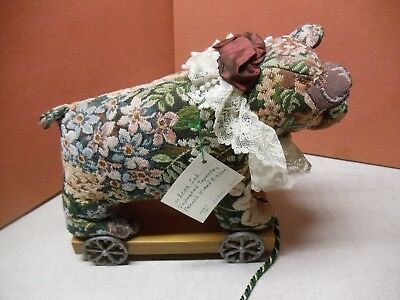 Vintage Bear Cub on a Wood Cart Mistletoes by Lia, Made in USA