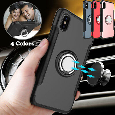 For iPhone X 8 7 Plus Case Shockproof Car Magnetic Ring Ultra-Slim Stand Cover