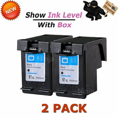 2 Pack 61XL 61 XL Black Ink CH563WN For HP Envy 4500 4504 4505 5530 5535 5539