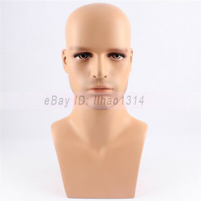 Male Mannequin Head for Hair Wig Hat Glass Displaying Men Model Head Fibreglass