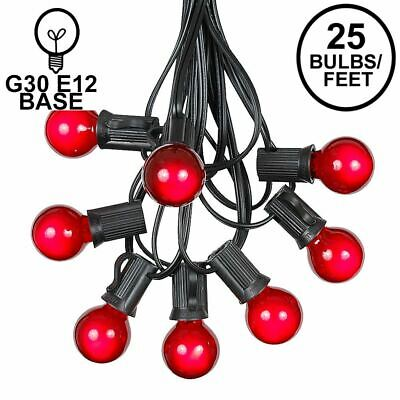 25 Foot G30 Outdoor Globe Patio String Lights - Set of 25 G30 Red Bulbs
