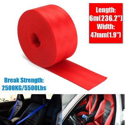 6M Car Seat Belt Webbing Polyester Seat Lap Retractable Nylon Safety Strap Red