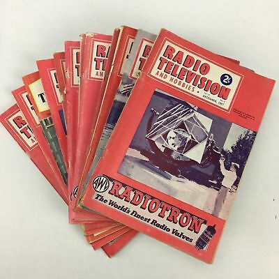 Vintage Radio Television And Hobbies Magazines 12 Issues 1957-1961 VGC