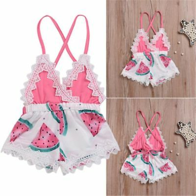 Newborn Infant Toddler Baby Girl Romper Lace Watermelon Jumpsuit Backless Outfit