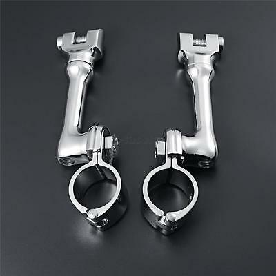 2x Chrome Longhorn Offset Footrest  Foot Peg Clamp for Harley Classic EFI FLHTCI
