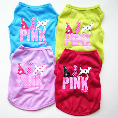 Dog Clothes Small Pet Costume Pink Letters Puppy Cat T-Shirt Summer Apparel Vest