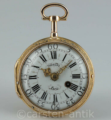 Guillaume Vitrolles 1734 Rokoko Spindeluhr ¼ Repetition 20K Gold verge fusee
