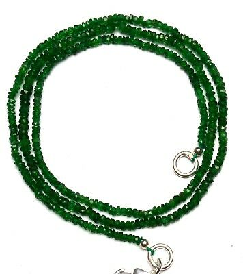 "Natural Gem Tsavorite 3 to 4MM Faceted Rondelle Beads Necklace 18"" Green Garnet"