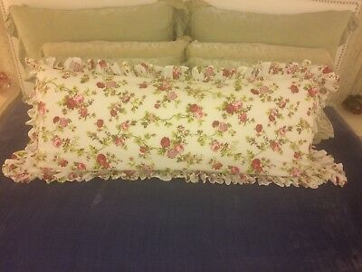 XL FLORAL ROSES SHABBY COTTAGE CHIC RUFFLED BODY PILLOW COVER Red Pink White